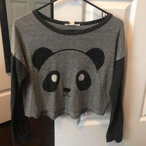 Long Sleeved Cropped Panda Tee